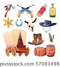 Wild west cartoon set. Cowboy boots, hat and gun. Bull skull, tomahawk, drink, dessert flower 57093498