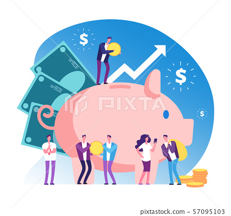 Piggy bank and people. Deposit money bank, wealth and cash accumulator financial vector concept 57095103
