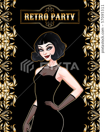 Retro party card, beautiful woman in black dress, 57095311