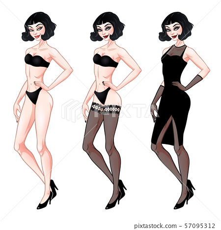 Beautiful young woman, dress up paper doll 57095312