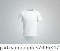 Blank white t-shirt mockup. isolated, front view 57096347
