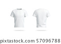 Blank white clean t-shirt mockup, isolated, front and back view, 57096788