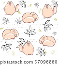 Cute kittens seamless pattern. Home pets background. Sketch. Vector illustration art. Realistic 57096860