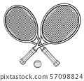 Two tennis rackets and ball. 57098824