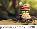 Cookies on wood table with sunlight and free space 57098903