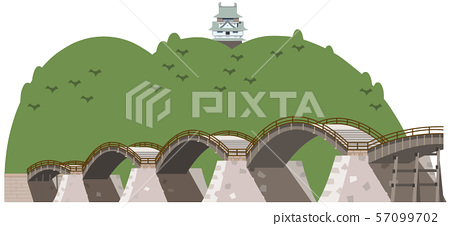 Kintai Bridge and Iwakuni Castle sightseeing spot illustration icon 57099702