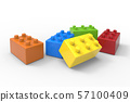 Toy colorful blocks isolated on white background. 57100409