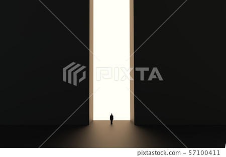 Silhouette of businessman standing. 57100411