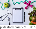 Clipboard with healthy fruit, vegetable and 57100815