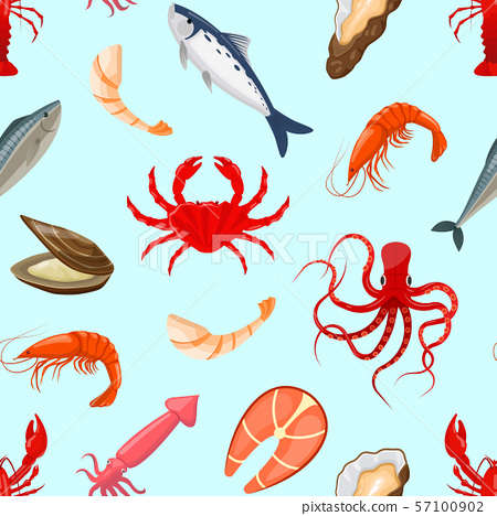Pattern with octopus,fish,shrimp,lobster,squid,oyste 57100902