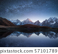Night landscape with a mountain lake and a starry 57101789