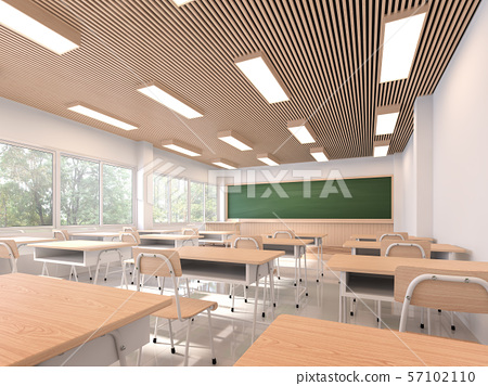 Modern contemporary classroom 3d render 57102110