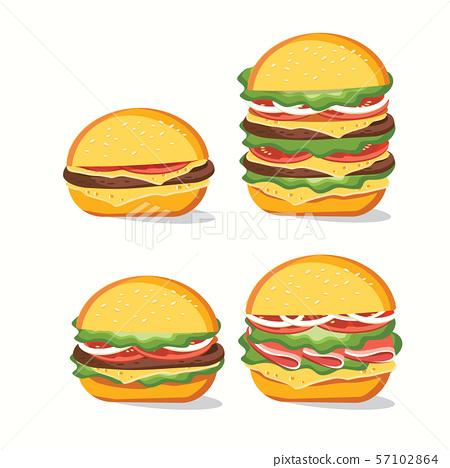 Fast food, Tasty set fast food vector isolated on 57102864