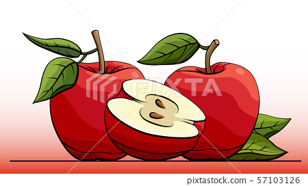 Illustration group of red apples. 57103126