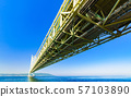 [Scenery of Hyogo Prefecture] Akashi Strait Ohashi Bridge (aka Pearl Bridge) connecting Awaji with Kobe taken with a clear blue sky in the background 57103890