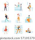 People Enjoying Various Hobbies Set, People Playing Ethnic Drum, Shooting Bow, Playing Bowling 57105379