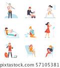 People Enjoying Various Hobbies Set, People Fishing, Driving Car, Doing Karate, Playing Flute 57105381