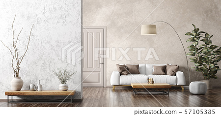 Interior of living room with white sofa 3d 57105385