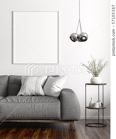 Interior of living room with sofa and mock up 57105387