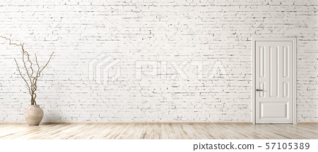 Interior background of room with brick wall, vase 57105389
