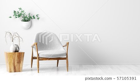 Interior background of living room with gray 57105391