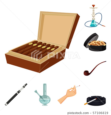 Vector design of cigarette and tobacco symbol. Set of cigarette and nicotine vector icon for stock. 57106819