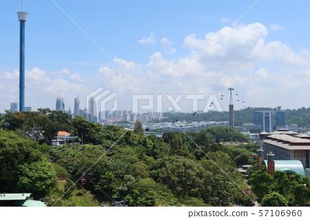 新加坡聖淘沙島魚尾獅天文台的風景(1)纜車 57106960