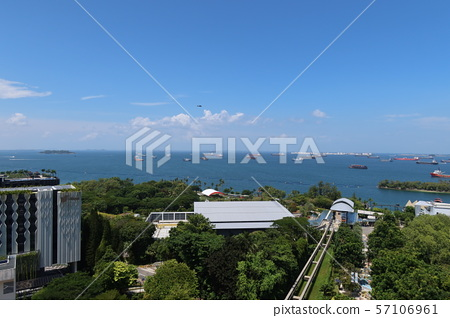 Scenery from Merlion Observatory on Sentosa Island, Singapore (2) Singapore Strait 57106961