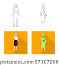 Isolated object of posture and mood icon. Collection of posture and female stock vector illustration 57107206