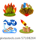 Vector illustration of cataclysm and disaster symbol. Set of cataclysm and apocalypse vector icon 57108264