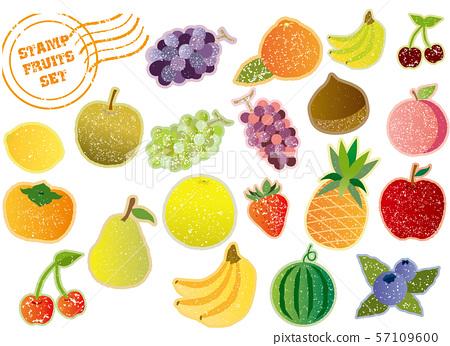 各種水果:郵票風格 57109600