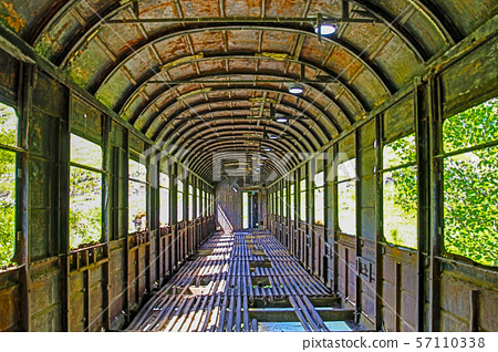 Railroad car used as bridge 57110338