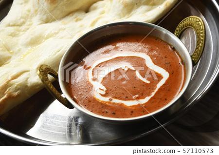 黃油雞肉咖哩南奶油美味辣香料印度食品印度咖哩 57110573