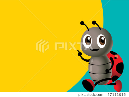 Back to School vector. Cartoon cute ladybird back to school with yellow and blue signboard. - vector 57111016