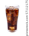Cola in glass with ice cubes on white background 57112175