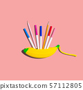 Banana shaped pen case with pens and pencils 57112805