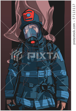 Firefighter illustration poster print shirt design 57113117