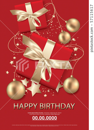 Happy birthday poster card celebration vector illustration 57115617