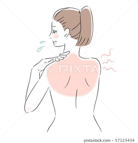 背部皮膚擔心曬傷的女人 57123434