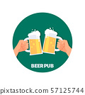 Beer pub vector icon design. Two hands holding beer glasses 57125744