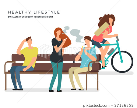 Healthy lifestyle vector poster design with smoking and non-smoking girl and boys 57126555