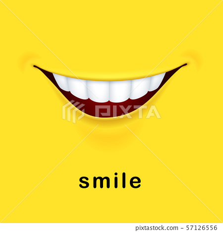 Smile yellow background with realistic smiled mouth 57126556