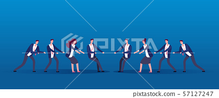 Team war. Business people rivals pulling rope. Competition, conflict in office vector concept 57127247