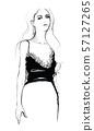 Fashion woman model in black blouse 57127265