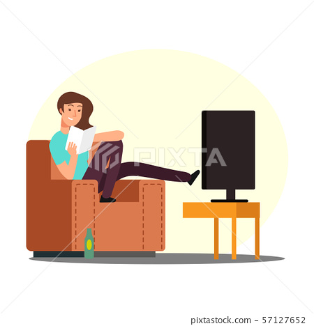 Cartoon woman rest on chair with book, tv and beer bottle vector illustration 57127652