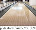close-up of one empty bowling track lane at 57128170