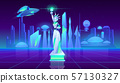 Statue of Liberty neon city futuristi background 57130327