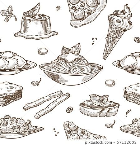 Italian cuisine sketch pattern background. Vector 57132005