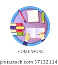 Home work student writing in textbook, studying 57132114