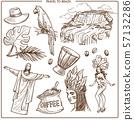 Brazil travel landmarks and famous tourism symbols 57132286
